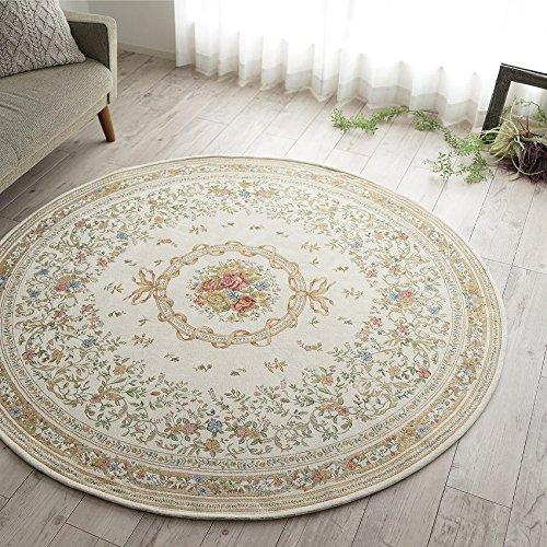 サヤンサヤン洗える円形ラグフラワーデザインゴブラン織048直径200ライトベージュ