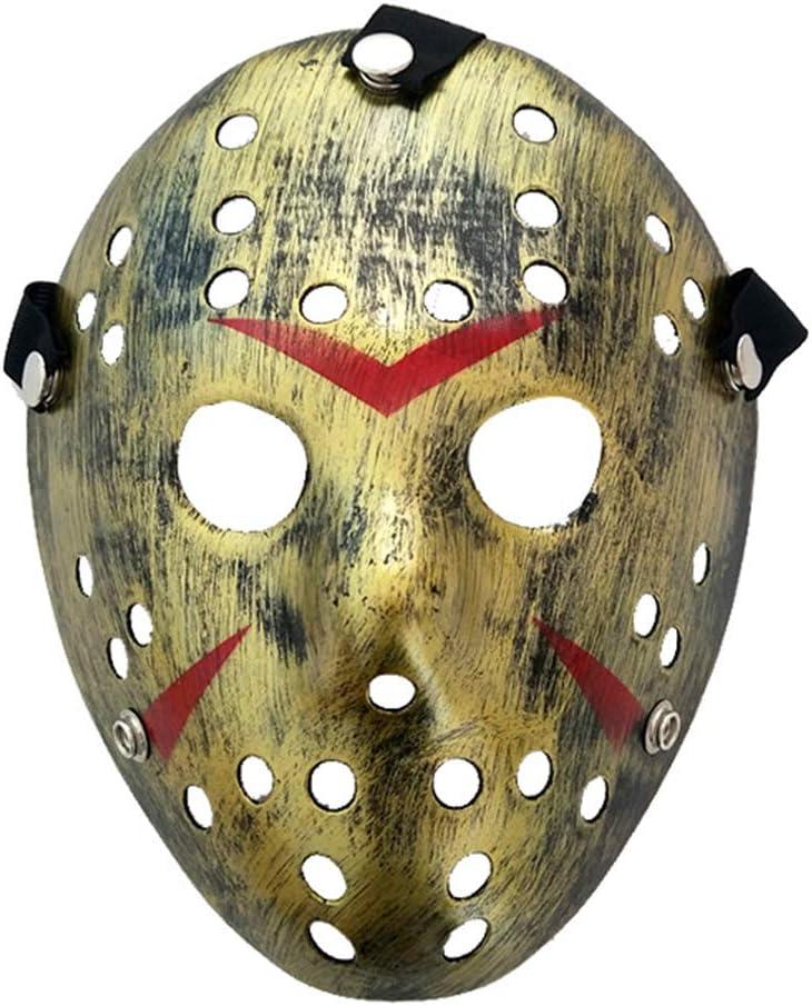 Baipin Máscara de Jason Cosplay Viernes 13 Disfraz Máscara de Fiesta de Halloween para Niños, Adultos (Plástico Amarillo)