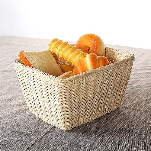 XBR Panier en rotin pour petit déjeuner, restaurant, pour mettre du pain, des viennoiseries et autres denrées alimentaires colori primari per 27x21xh15cm