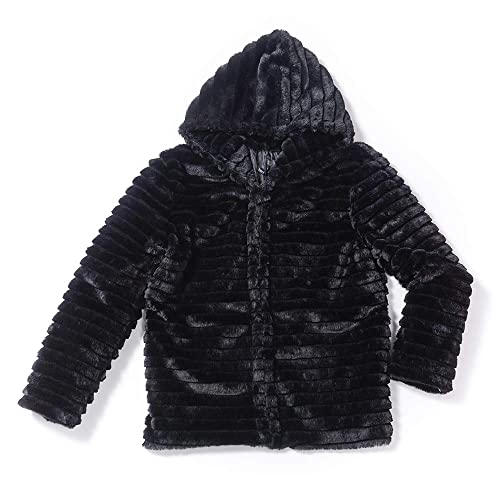 2380eae43637a Di lusso Hooded Coat for Women Faux Fur Fashion Warm Winter Jacket for  Ladies Black
