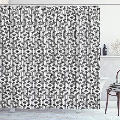 ABAKUHAUS Duschvorhang, Symmetrische Parallele Linien in einem Zickzack Muster Schwarz-Weiß als Qualitäten Digital Druck, Wasser & Blickdicht aus Stoff mit 12 Ringen Schimmel Resistent, 175 X 200 cm
