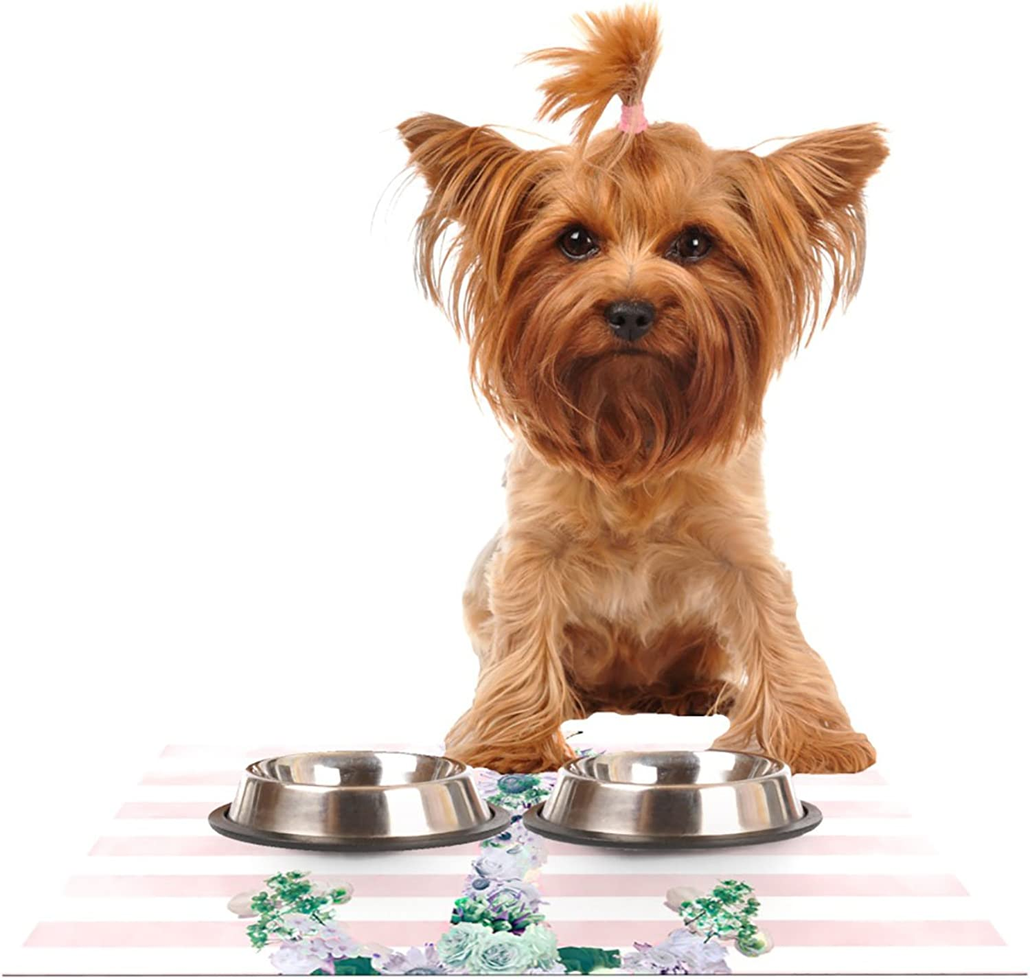 Kess InHouse Nika Martinez Floral Anchor  Pet Bowl Placemat for Dog and Cat Feeding Mat, 24 by 15Inch, Pink Stripes