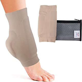 Boot Bumper Gel Pad Sleeve - Padded Skate Sock for Foot Protection of Achilles Tendon & Lace Bite Area Skating, Hockey, Roller, Ski, Hiking, Riding Boots (2 Sleeves & Bag)