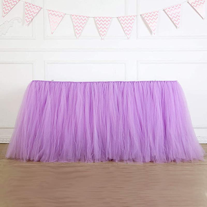 Table Skirt 1 Yard Mint Tutu Tulle Table Skirting Cover Purple Tableware For Rectangle Or Round Tables For Party Wedding Birthday Baby Shower Decoration Purple