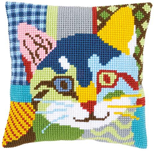Vervaco Kreuzstichkissen Katze, Patchwork Stil, Stickbild vorgezeichnet Kreuzstichpackung Kissen, vorbezeichnet, Baumwolle, Mehrfarbig, 40 x 40 x 0,3 cm