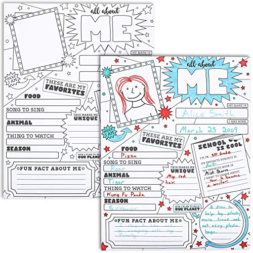 Juvale 30-Pack Kids All About Me Posters for Kindergarten, Elementary School, 17 x 22 Inches