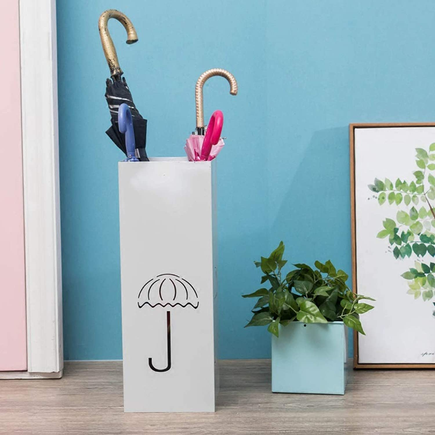 European Metal Umbrella Stand-HJCA Home Creative Umbrella Storage Box Hotel Subway Art Umbrella Stand (Size  7.87x7.87x19.68 Inches) (color   White)