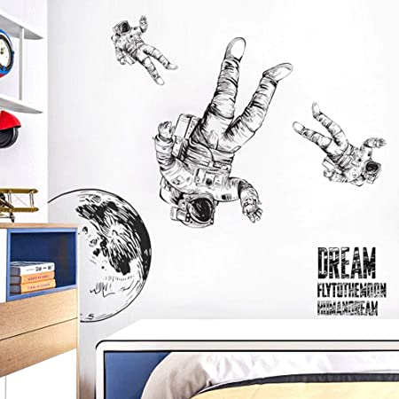 Astronaut Wall Sticker Removable Large Spaceman Wall Decal Nursery Decor Gift for Kids Boy Girl Bedroom Art Home Decoration Mural Interior Design