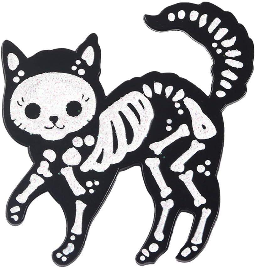 hbz11hl 70% OFF Outlet Brooch OFFicial mail order Pin Creative Unisex Skeleton Badge Cat Jea Enamel
