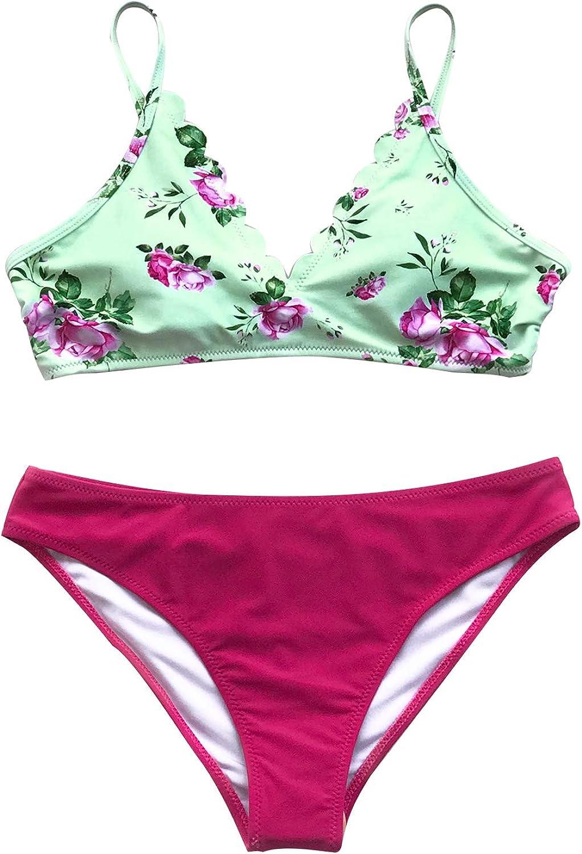 CUPSHE Women's Floral Print Scalloped Neckline Sun Chaser Bikini