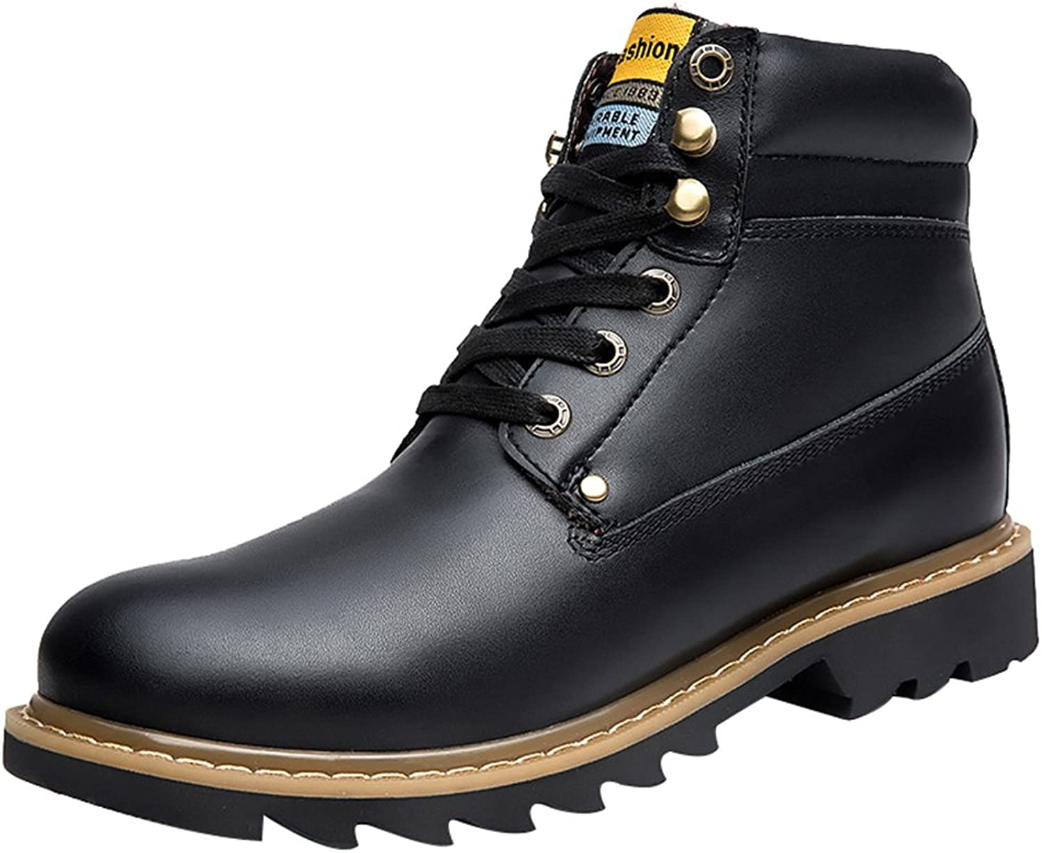 Salabobo QYY-118 New Mens Casual Leather Leisure Comfy Warm Wool High Top Working Boots Black UK Size6