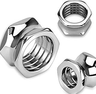 Hexagon Screw Bolt HollowWildKlass Saddle Plug 316L Surgical Steel (Sold as a Pair)