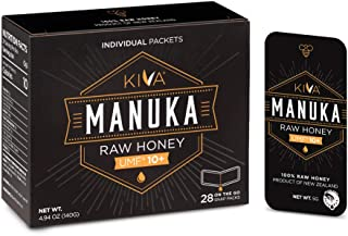 Kiva Raw Manuka Honey SNAP-Packets, Certified UMF 10+, New Zealand (28 Count | On-The-Go Packets) ** Limited Time Sale **