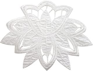 ID 5111 White Flower Design Large Patch Craft Lace Embroidered Iron On Applique