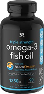 Omega-3 Wild Alaska Fish Oil (1250mg per Capsule) with Triglyceride EPA & DHA | Heart, Brain & Joint Support | IFOS 5 Star...