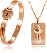 Uloveido Shield Key Pendant Necklace and Lock Bracelet for Girls Boys Couple Necklace Bracelet Set for Men and Women Anniversary Birthday Gift, You Hold The Key to My Heart Y473/Y474
