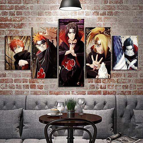 nobrand Drucke Malen Modulare Bilder Leinwand 5 Panel Akatsuki Naruto Anime Wandkunst Home Decoration Modern für Jungen Zimmer Poster-40x60 40x80 40x100cm Kein Rahmen