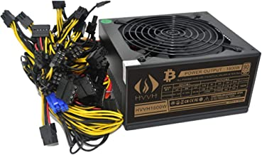 HVVH 20+4 Pin Silent Noise Reduction Miner/PC GPU ATX 1600W Power Supply 87 Plus Gold Designed for US Voltage 110V 1600w M...