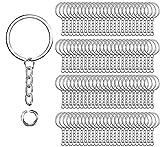 100 piezas de anillos de llavero de metal dividido,Richaa 1 pulgada Llaveros redondos con cadena de eslabones y anillos de salto abiertos para DIY manualidades accesorios