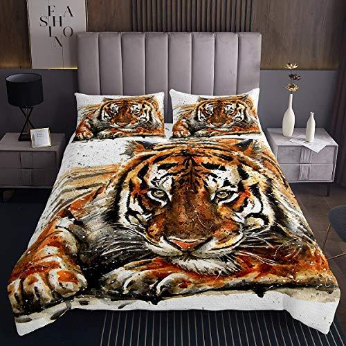 Tiger Wohndecke Aquarell Tiger Gedruckt Tagesdecke 140x200cm für Kinder Jungen Erwachsene Tiermuster Bettüberwurf Safari Wildeer Tiger Steppdecke Ultra weich 3St