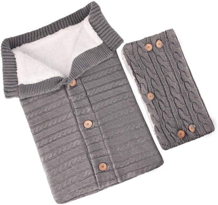 Kraeoke Saco de dormir de punto para bebé, manta envolvente, saco de dormir y guantes de lana de cordero con botones, para bebés de 0 a 12 meses