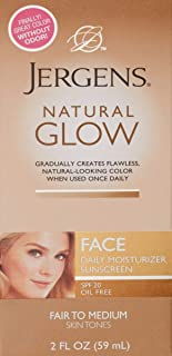 Jergens Glow Face Daily Moisturizer Sunscreen SPF 20, Fair to Med, 2 Ounce