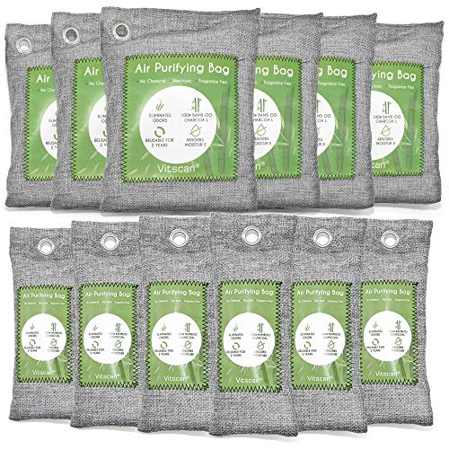 12 Pack Bamboo Charcoal Air Purifying Bag, Activated Charcoal Bags Odor Absorber, Moisture Absorber, Natural Car Air Freshener, Shoe Deodorizer, Odor Eliminators For Home, Pet, Closet (6x50g, 6x150g)
