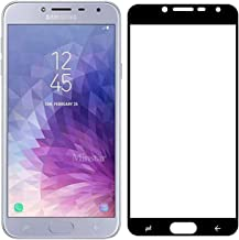 واقي شاشة زجاجي صلب منحني 3D التغطية بالكامل لهاتف Samsung Galaxy J4 2018 بإطار أسود من Muzz