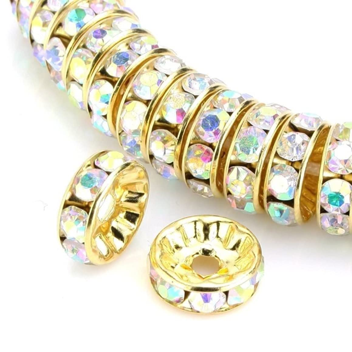 200pcs 6mm Top Quality Rhinestone Rondelle Spacer Beads (Crystal AB) Austrian Crystal 14K Gold Plated Brass Round Metal Beads CF7-602