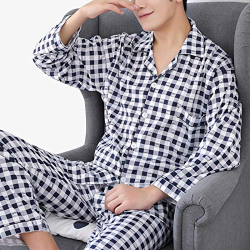 CIDCIJN Pigiama da Uomo Intero Set,Uomo Pigiama Set Cotone Primavera Lunga Manica Plaid Uomo Pigiama Abito Spring Nightwear Pijama Abbigliamento Uomo Due Pezzi, Blu,XL