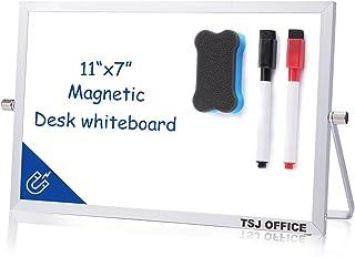 "Small Dry Erase White Board - Desktop Portable Mini WhiteBoard Easel 7""x 11"", 360 Degree Reversible to Do List Notepad for..."