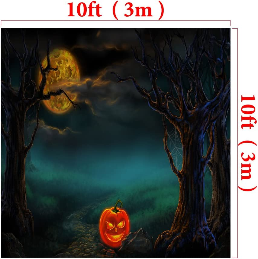 W x5ft Kate7ft Halloween Photography Background Forest Pumpkins Horror Backdrop for Photographic Studio Props Cotton Cloth Photo Background H