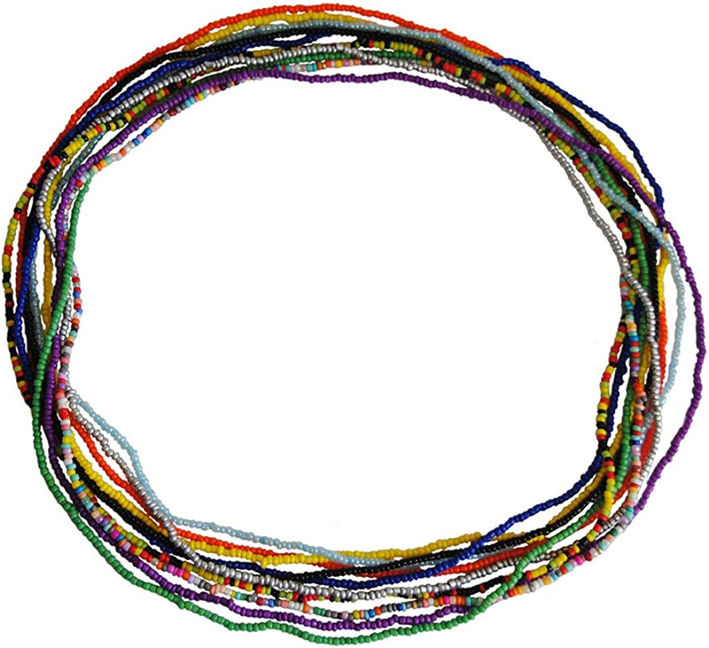 Nieeweiy Waist Chains Beach Beads Belly Body Chain Fashion Belts Colourful Bead Waist Chain for Women and Girls (10 PCS)