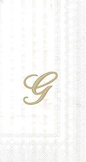 "Ideal Home Range 96 Count Stripes Again Monogram Letter G Paper Guest Towel Napkins, 8.5"" x 4.5"""