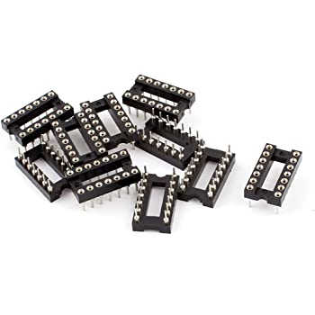 uxcell 10 Pieces 2.54 mm Pitch 14 Pins Round Hole Soldering DIP IC Socket Adaptor
