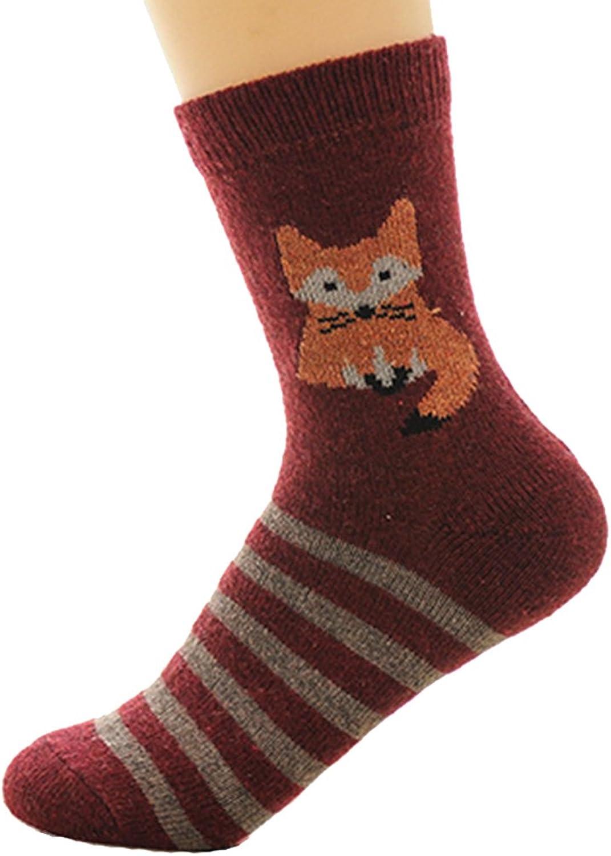 5 pairs women's sports cartoon pattern knit thick warm winter socks