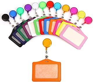 FOROREH Porte-Cartes Multicolores, Badge Rétractable, Titulaire de Carte d'Identité Badge Carte de Travail en Cuir avec Cl...
