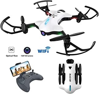 Drones for Adults, Wide-Angle 720P HD Camera for Beginner,Kids,Quadcopter Drone with One Key Take Off/Landing, Optical Flow Positioning, 3D Flight, APP Control, Altitude Hold, Headless Mode,White