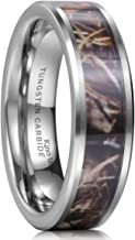 King Will 8mm Camo Trees Leaves Tungsten Carbide Ring Camouflage Hunting Polished Finish Comfort Fit