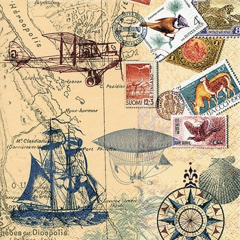 20 Servietten 33x33 cm Rund um die Welt Around the World Flugzeug Schiff Meer See Briefmarke