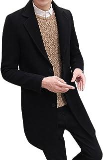 ホットクリアランス。 Daoroka メンズ プラスサイズ スリムフィット ロングウール ジャケット フォーマル シングルブレスト フィギア オーバーコート ジャケット アウター XXL ブルー Daoroka-555