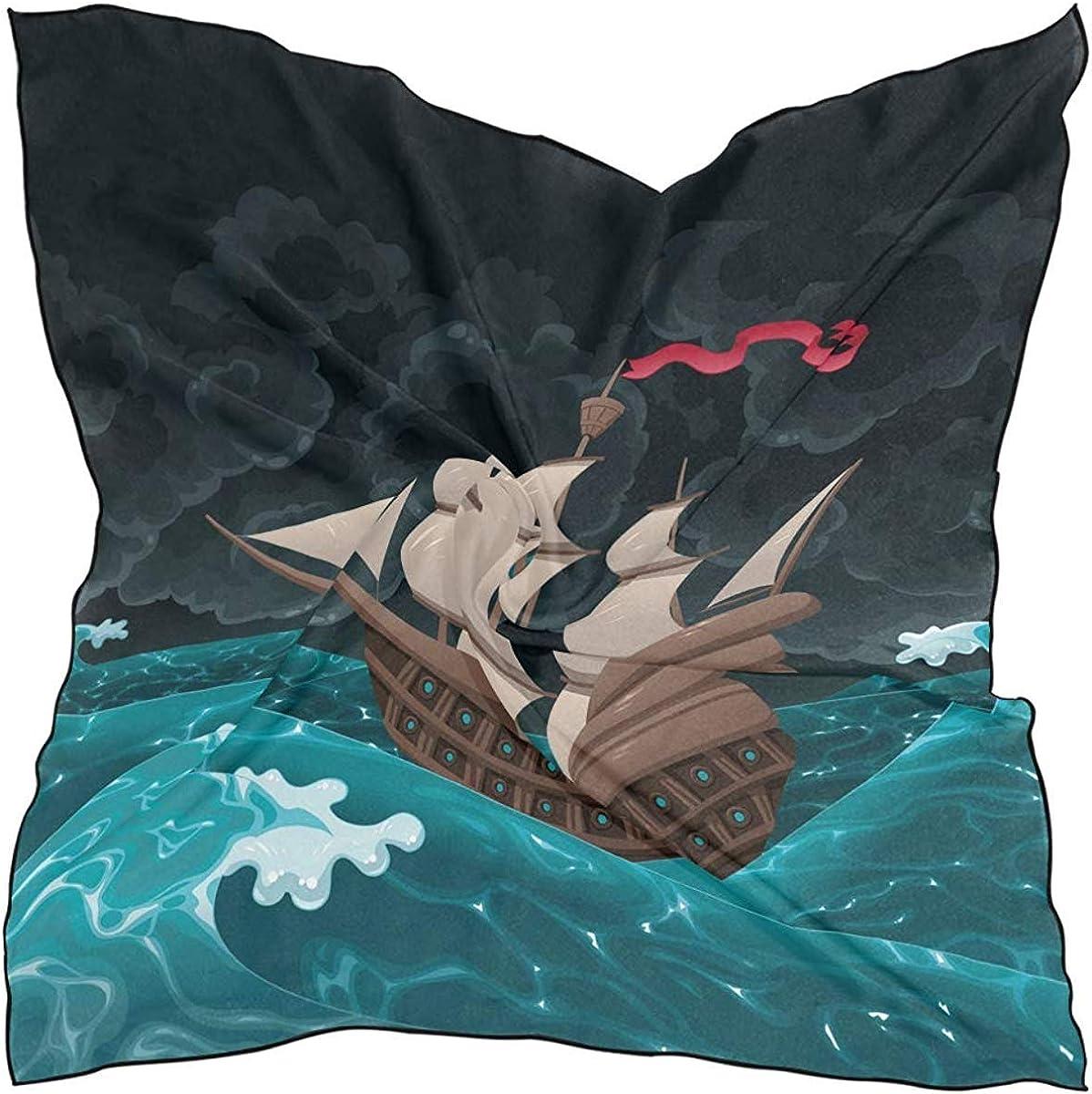 Ship Sailing On The Sea Satin kerchief Multipurpose Headpiece for Women Head scarf Fashion Silk Scarf Large Square table