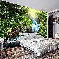 緑の森の滝のストリーム写真壁画カスタム不織布3Dストロー壁紙リビングルームの寝室の環境に優しい壁紙,200(W)×140(H)Cm