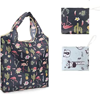 2 Pack Reusable Grocery Bags Foldable Shopping Eco-Friendly Grocery Tote Bag Nylon Durable Lightweight Shopping Bag Holds ...