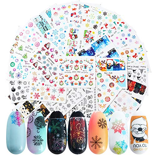 Christmas Nail Art Stickers, 30 Sheets Water Transfer Nail Decals Colorfull Christmas Nail Stickers Snowflake Santa Claus Bell Sock Snowman Art Design for DIY Nails Design Manicure Tips Nail Art Decor
