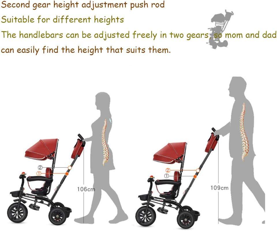 4 in 1 Kids' Trikes Kinderwagen met luifel Dual Achter Remmen Afneembare Sturen, opvouwbare pedalen, geschikt voor 1~6 jaar oud,Red Green