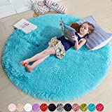Blue Round Rug for Bedroom,Fluffy Circle Rug 4'X4' for Kids Room,Furry Carpet for Teen's Room,Shaggy Circular Rug for Nursery Room,Fuzzy Plush Rug for Dorm,Turquoise Carpet,Cute Room Decor for Baby
