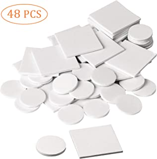 48pcs Adhesive Tape Double Sided White Foam Tape Strong Pad Mounting Adhesive (Square+Round)