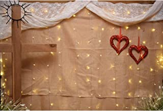 Laeacco Wedding Ceremony Background 5x3ft Worship Photography Backdrop Wooden Cross Linen Curtain Red Glitter Heart Shape Christmas Lights Bulbs God Bless Christian Marriage Photo Prop Studio Decor