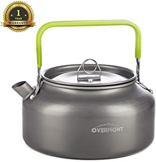 Overmont Camping Kettle Camp Tea Kettle Camping Coffee Pot Aluminum 27/42 FL OZ Outdoor Hiking Kettle Pass FDA Test Camping Gear Portable Teapot Compact and Lightweight with Silicon Handle